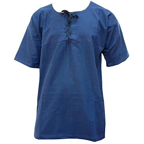 Trollfensen Mittelalterliches Hemd Kurzarmhemd Jakob Farbe Blau 100% Baumwolle, LARP-Gewandung Herren Rollenspiel Cosplay - XXL