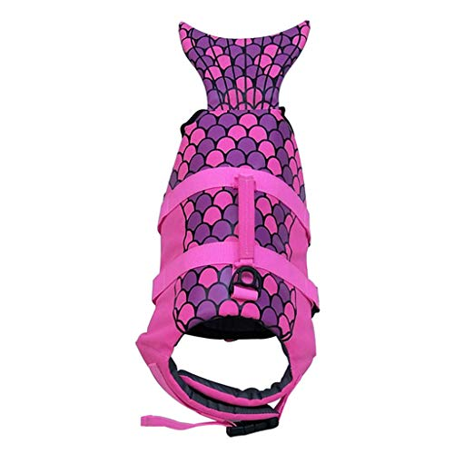 FAKEME Polyester Dog, Safety Pet Flotation Life Vest w/Handle, Adjustable Puppy Lifesaver Swimsuit Preserver for Small Medium Large Dogs - Rose Red_L