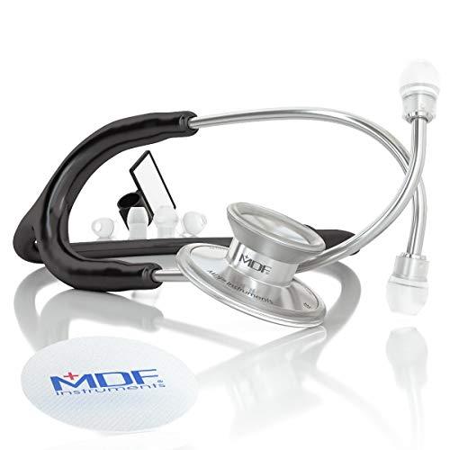 MDF® Acoustica® luxuriöses, leichtes Zweikopf-Stethoskop - Gratis-Parts-for-Life & Lebenslange-Garantie (MDF747XP) (Schwarz)