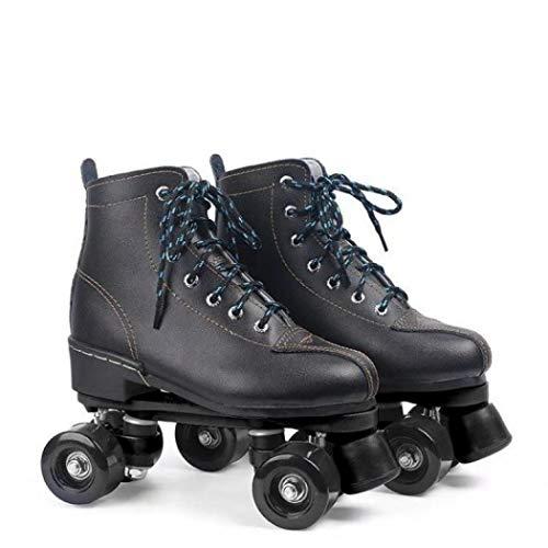 AYES Herren und Damen Rollschuhe Klassisch Schwarz und Weiß Vierrad Roller Skates Double Row Roller Skates für Jungen und Mädchen 40 Schwarz
