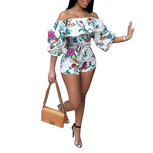 CupoJito Women's Sexy Off Shoulder Ruffle Sleeve Short Jumpsuit Tie Dye Print Drawstring Rompers Clubwear White