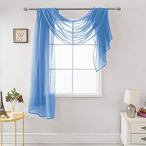 """MEMIAS Luxury Window Sheer Elegant Voile Curtain Scarf for Home, Birthday Party, Wedding Decoration, 1 Panel 54"""" W x 144"""" L, Baby Blue"""