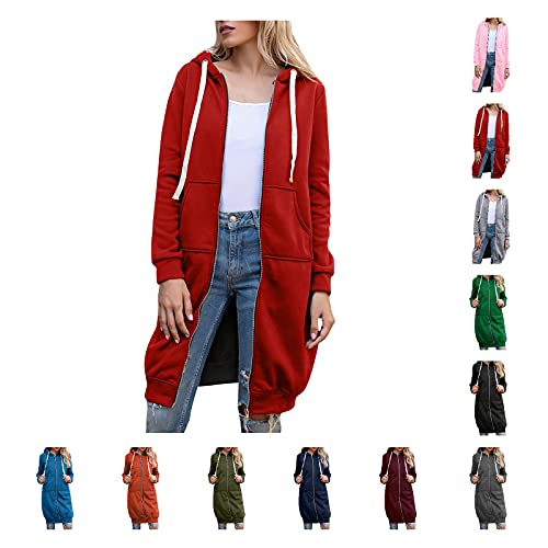 YTZL Chaqueta de otoño para mujer con capucha de manga larga con capucha, para exteriores, chaqueta larga, sudadera para mujer, chaqueta de invierno, chaqueta larga, chaqueta para exterior, Negro , L