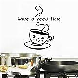 Buon divertimento Adesivo con lettere Carta da parati fai-da-te Adesivo da parete con tazza di caffè carino Coffee Shop Decorazione per la casa Adesivo murale A4 86x64 cm