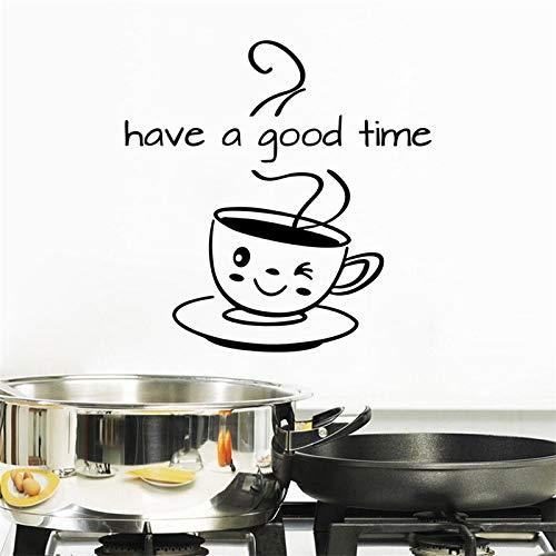Diviértete, pegatina con letras, papel tapiz DIY, bonita taza de café, pegatina de pared, cafetería, decoración del hogar, pegatina de pared, Mural A9 86x64cm
