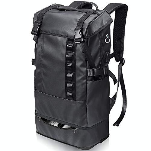 PEYNE リュック メンズ リュックサックバックパック - 2層式 拡張機能 大容量 スクエア スクエアリュック, 靴/弁当収納 スクエアバックパック, 防水 キャンバス リュック,A4収納 多ポケット USBポート付き 15.6インチ PC ビジネスリュック,40L outdoor 通勤 修学 旅行 学生 ブラック バッグ, 多機能 通気性 黒 スクエアリュック