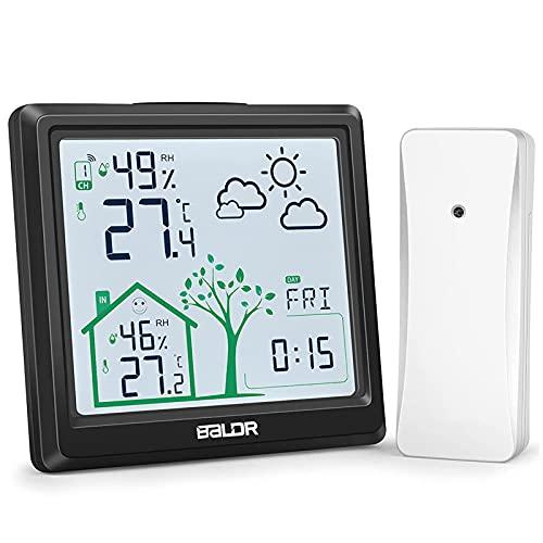 FHISD Estación meteorológica Sensores al Aire Libre Barómetro Digital inalámbrico, pronóstico del Tiempo Temperatura Humedad Interior al Aire Libre, Reloj de Tiempo Grande