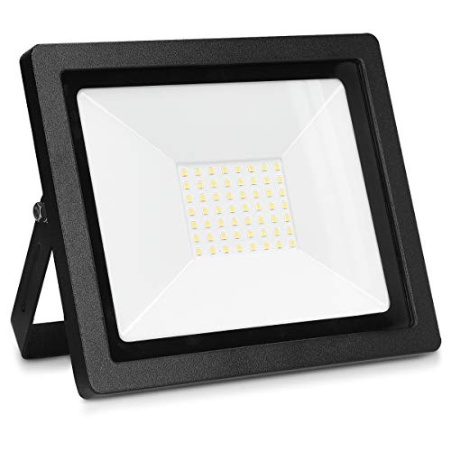 kwmobile LED Flutlicht Strahler 50W - LED-Strahler 3250 Lumen mit Stromkabel - Flutlichtstrahler Hof Treppe Garten Garage Wand - Fluter Scheinwerfer