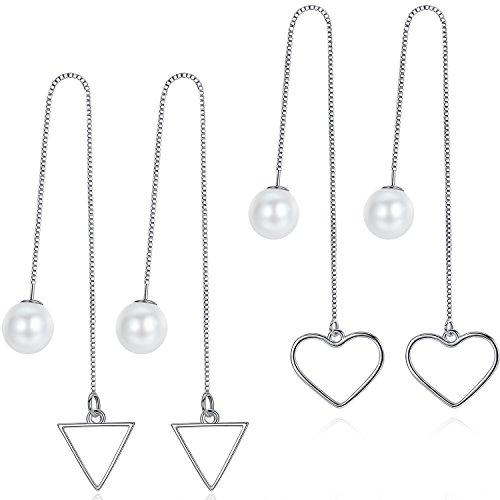 Gioielli di Moda per le Donne 2 Paia di Orecchini Pendenti con Ganci Filettati Lega Placcata Oro + Perla di Conchiglia