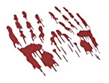 BERRYZILLA Bloody Hand Prints Decal Zombie Car Vinyl Sticker Large Pair RED (Come with Zombie Hunter Permit Decal)