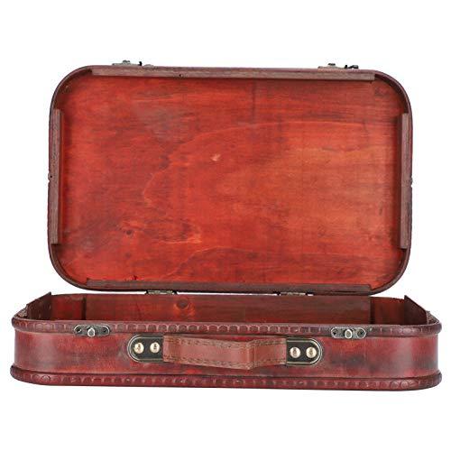 Maleta, portátil de estilo antiguo de madera + maleta retro de piel sintética, para hombres, decoración del hogar, mujeres, accesorio fotográfico