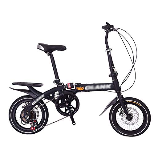16Inch Folding Bike for Adult Men and Women Teens, 6Speed Mini Lightweight Foldable Bicycle for Student Office Worker Urban Environment, High Carbon with Disc Brake Rear Rack