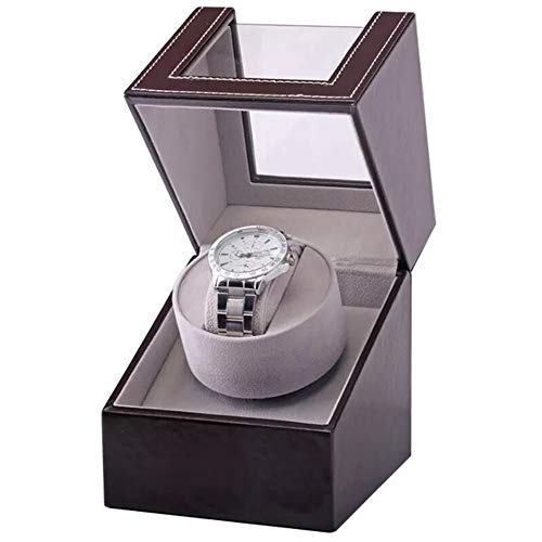 HOSEN Automatic Single Watch Winder in Black Leather with Quiet Japanese Motor, Adjustable Watch Pillows, Fit Lady and Man Automatic Watch (brown)