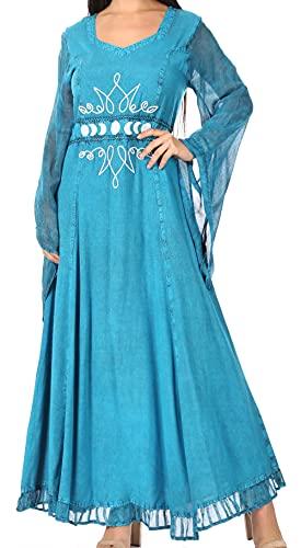 Sakkas ADL20324 - Eve Women's Long Sleeve Casual Medieval Renaissance Celtic Maxi Dress Soft - Turquosie - 1XL/2XLP