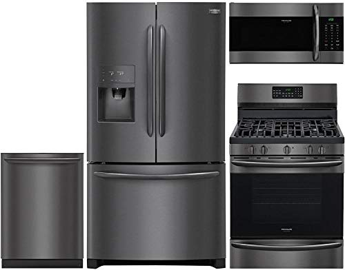 "Frigidaire 4 Piece Kitchen Appliance Package with FGHD2368TD 36"" French Door Refrigerator FGGF3059TD 30"" Gas Range FGMV176NTD 30"" Over the Range Microwave and FGID2466QD 24"" Built In Dishwasher in Black Stainless Steel"