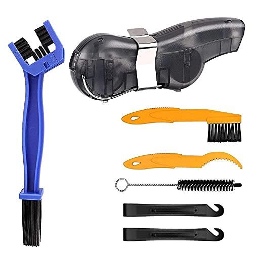 YeVhear - Juego de limpieza para bicicletas de 7 piezas, cepillo de limpieza para bicicletas, cepillo de limpieza para bicicletas, kit de herramientas para cadena/manivela/llanta/plato/mancha
