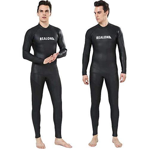 Realon Triathlon Wetsuit Men 3mm Open Water Trisuit Ironman Wear Surfing Suit Jumpsuit (3mm Triathlon Black, 3X-Large)