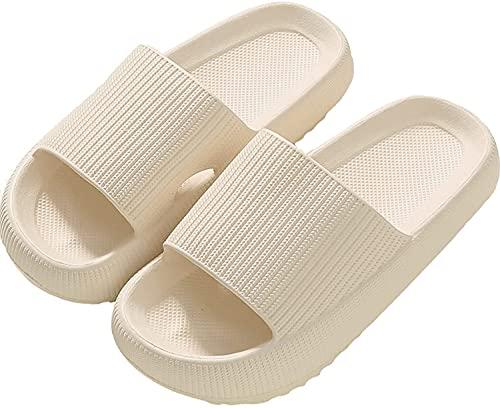 SHARLLEN Pillow Slides Slippers, Unisex Massage Foam Bathroom Slippers (36/37, Beige, numeric_5_point_5)