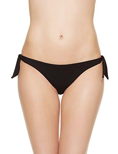 EONAR Damen Niedriger Bund Bikinihosen Seitlich zu binden Brazil-Bikinislip, Schwarz, M(36-38in)