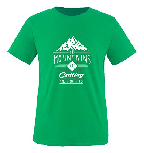 Comedy Shirts - The Mountains Are Calling and i Must go - Herren T-Shirt - Grün/Weiss Gr. M