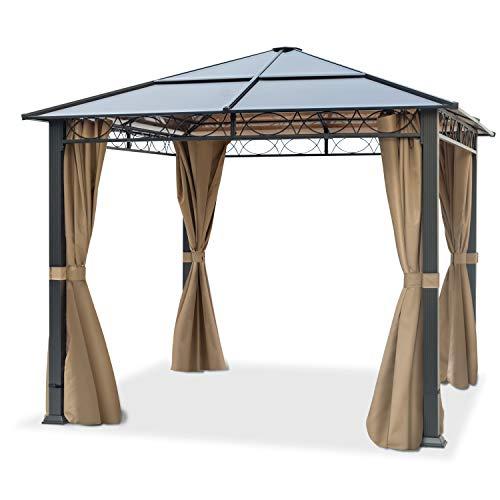 TOOLPORT Cenador de jardín 3x3 m Impermeable ALU Deluxe con 4 Partes Laterales Carpa Party en Techo de Bronce translúcido PC