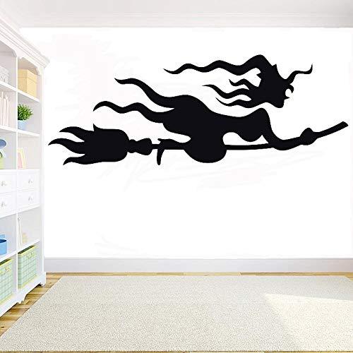 Geiqianjiumai Witch's Bezem Wizard Halloween Bat Muursticker Kamer Versier Muursticker Glazen Deuren en Ramen