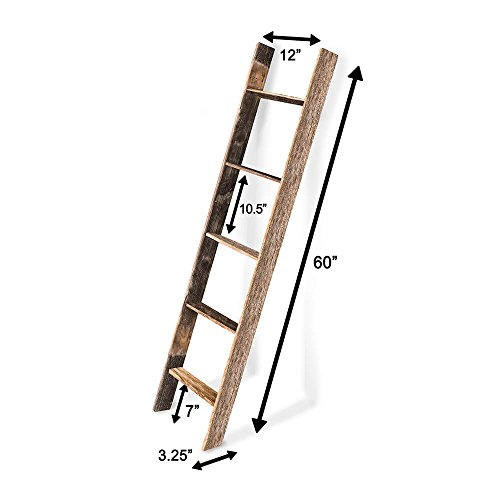 BarnwoodUSA Rustic Farmhouse Blanket Ladder - Our 5 ft Ladder can be Mounted Horizontally or Vertically and is Crafted from 100% Recycled and Reclaimed Wood   No Assembly Required