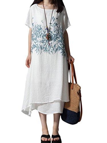 (リッチココ)richcoco レディース ワンピース ロング丈 綿麻 半袖 体型カバー 夏 森ガール 花柄 ゆったり 大きいサイズ 白 M