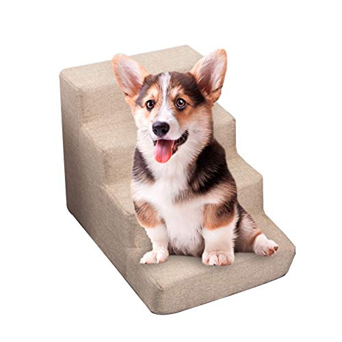 JLXJ Escaleras escalones Escaleras para Mascotas 4 Pasos Rampa para Perros para Sofá Alto De Cama Alta, Escalera De Esponja De Espuma, Funda Blanda Lavable, Alto: 40 Cm (15 Pulgadas)