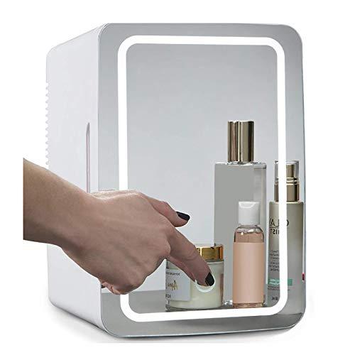 GSYNXYYA 8L Mini refrigerador, Espejo de Maquillaje con refrigerador LED de Belleza, Mini refrigerador Compacto Blanco portátil, Adecuado para Dormitorio/Oficina,8L
