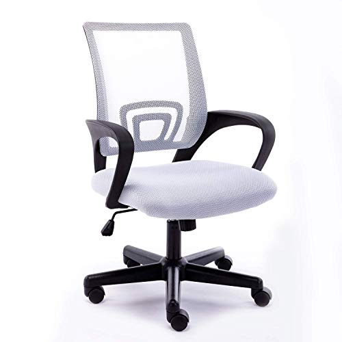 Office Mid-Back Chair Home Office Desk Chair Mesh Ergonomic Computer Chair with Streamlined Armrests Rectangular Lumbar Support and Adjustable Height Swivel Chair for Adults(Bright White)…
