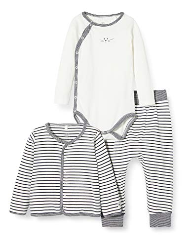 Petit Bateau 5423101 Pijama, Multicolor (Marshmallow/Smoking Bek), 0-3 Meses (Talla del Fabricante: 1 Meses) para Bebés
