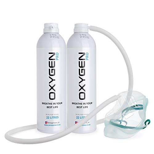 OXYGEN PRO Supplemental Oxygen White Canister & MASK - 99.5% Pure Canned Oxygen Improve Performance, Increase Endurance & Accelerate Recovery, Total 44 litres (2 Pack)