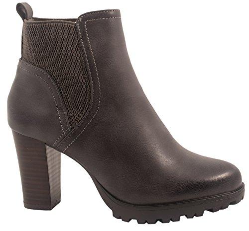 Elara Damen Stiefeletten Ankle Boots Chunkyrayan 949-GA-Grau-41