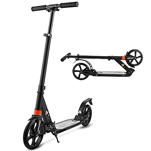 Hikole Scooters for Adults Teens, Kick Scooter with Adjustable Height Dual Suspension and Shoulder Strap 8 inches Big Wheels Scooter Smooth Ride Commuter Scooter Best Gift for Kids Age 10 Up (Renewed)