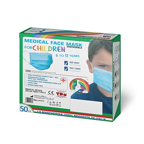 GDA Mascarillas Quirurgicas Para Niños Homologadas CE 100% Hechas en Italia Tres Capas Tipo II EFB ≥ 99% Sin Látex Color Azul Claro 50 Unidades