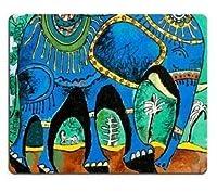 ムーンマットの下を歩くのが好きな象の1685マウスパッド快適で滑りにくいの画像カスタマイズされたデスクトップラップトップゲーミングマウスパッド快適で滑りにくい