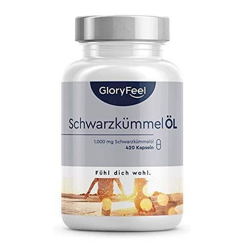 Schwarzkümmelöl - 420 Kapseln - 1000mg pro Tagesdosis - Ägyptisch, naturbelassen und kaltgepresst - 80{0c4698e357a6c05e223b814ae9ed9fea1b3341199a07ff9a7dbfaa1b1ad2f811} essentielle Fettsäuren + Vitamin E - Laborgeprüft ohne Zusätze in Deutschland hergestellt