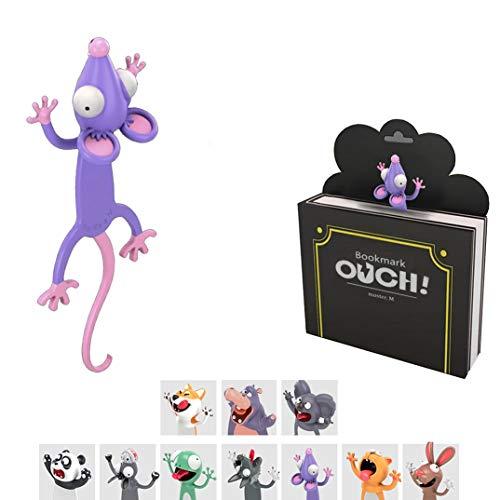 KXT Witzige 3D Cartoon Tier-Lesezeichen - Lustiges Geschenk für Kinder und Erwachsene (Maus)