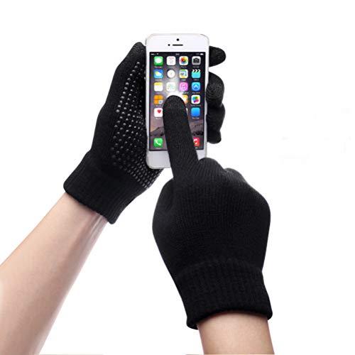 スマホ手袋 防寒 タッチスクリーン対応 U-LOVE 滑り止め付き フリーサイズ ニットグローブ(ブラック)