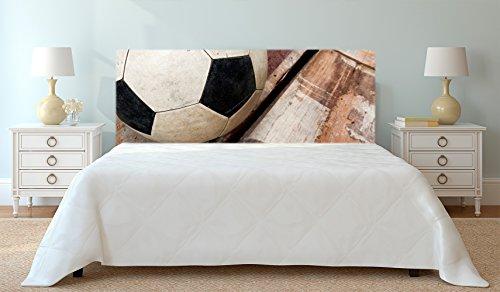 Cabecero Cama Deportivo PVC Impresión Digital Balón de Futbol sobre Madera Multicolor 150 x 60 cm | Disponible en Varias Medidas | Cabecero Ligero, Elegante, Resistente y Económico
