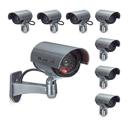 Relaxdays 8 x Dummy Kamera im Sicherheits Set, CCD Kamera mit LED, schwenkbare Sicherheitskamera, für außen und innen, drahtlos
