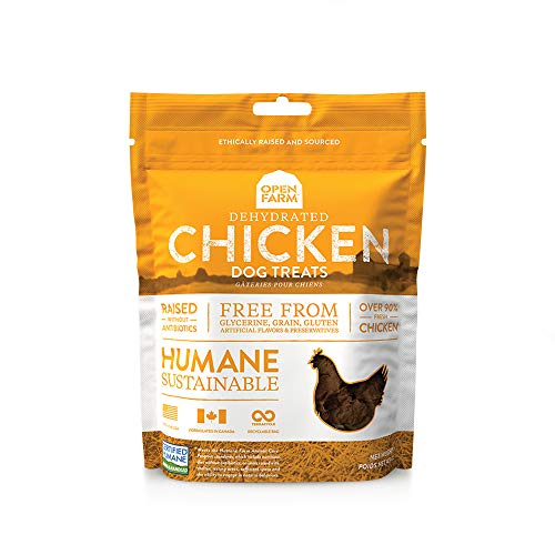 Open Farm Dehydrated Chicken Grain-Free Dog Treats, Humanely Raised Chicken Recipe with Natural Simple Ingredients and No Artificial Flavors or Preservatives, 4.5 Oz, 3 Pack