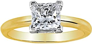 1 1/4 Carat Princess Cut Diamond Solitaire Engagement Ring 14K Yellow Gold V Prong (K, I2, 1.25 c.t.w) Very Good Cut