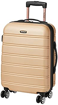 Rockland Melbourne Hardside Expandable Spinner Wheel Luggage Champagne Carry-On 20-Inch