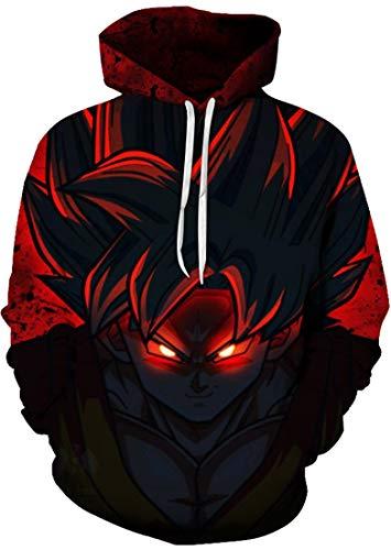 FLYCHEN Sudadera con Capucha para Hombre con 3D Digital Impreso Dragon Ball Goku Super Saiyan Azul Men's Hoodie Hip Hop - Negro - M