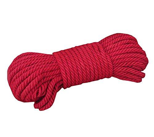 Black Temptation Ficelle de Jute Rouge - 65 pi - 6 mm de diamètre - Corde de Jute Naturelle écologique