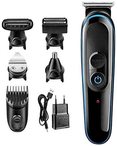 Cortapelos profesional sin cable para hombres 5 en 1 mquina de afeitar elctrica del condensador de ajuste elctrico Clipper Clipper Clipper pelo de la barba de pelo recorte de afeitar de la mquina