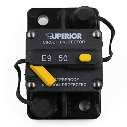 T Tocas 50 Amp Circuit Breaker Trolling with Manual Reset, 12V- 48V DC, Waterproof (50A)