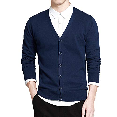 Perilla fire Cotton Sweater Men Long Sleeve Cardigan Men V Neck Sweaters Loose Solid Button Fit Knitting Casual Style Clothing,Blue XR333,XXL